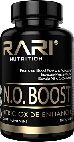 RARI Nutrition - N.O. Boost - 100% Natural Nitric Oxide Booster for Increased Muscle Volume, Vascularity, and Blood Flow - Vegan and Keto Friendly - Easy to Swallow Pills - 30 Servings