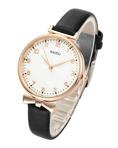 Top Plaza Womens Ladies Classic Simple Leather Analog Quartz Wrist Watch Rose Gold Case Arabic Numerals Casual Dress Watches(Black) ()