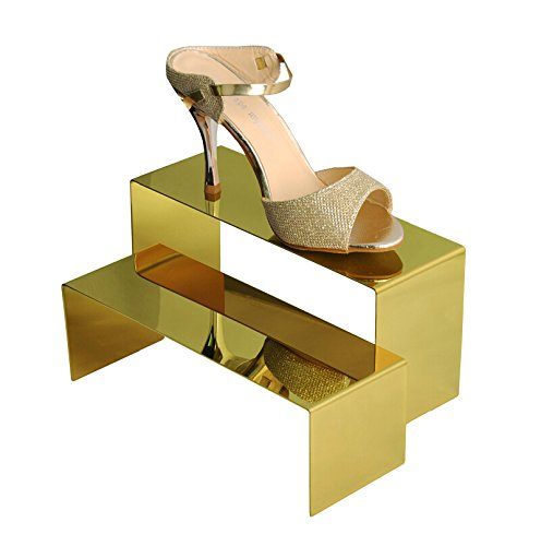 B&NN Gold Color High-Low Size Metal Display Stand Riser Shoe Display Riser Set of 2