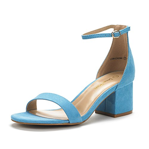 DREAM PAIRS Women's Low-Chunk Blue Suede Low Heel Pump Sandals - 8 M US