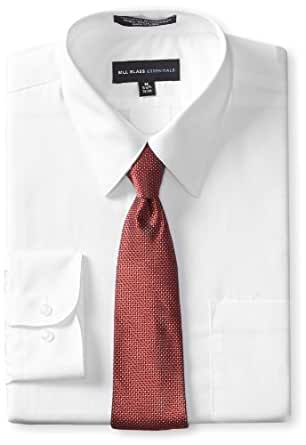 Bill Blass Men's Dress Shirt and Tie Box Gift Set, White, 34x35/17-17.5