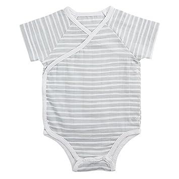 aden anais Baby Short Sleeve Kimono Body Suit 0-3M Grey Stripe
