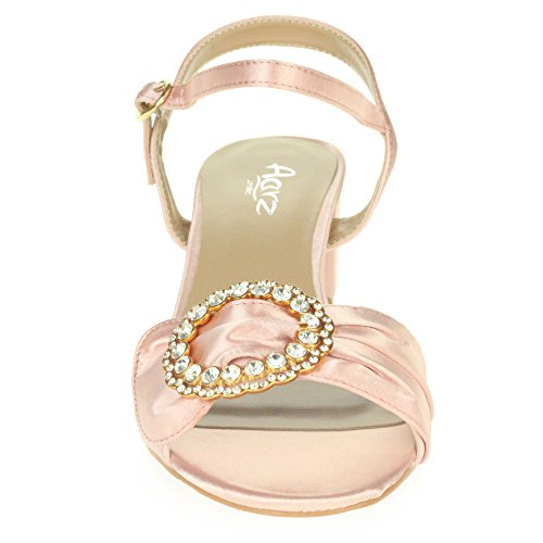 Heel Size Wedding Casual Block Open Prom LONDON Sandals Party AARZ Ladies Diamante Pink Women Evening Shoes Toe 7gZqCT