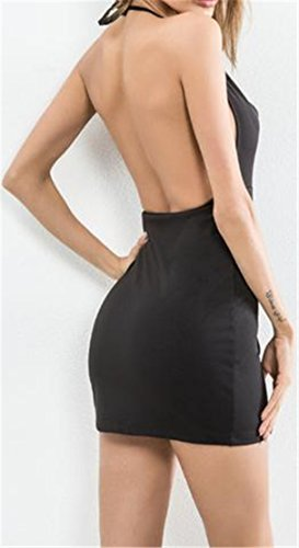 Cromoncent Out Halter Womens Cut Dress Bodycon Hollow Black Club Backless Summer rIrwxqtF