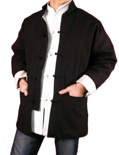 Lin Premium Col Mao Veste Noire Tai Chi Arts Martiaux Blouson Homme Tailleur #101