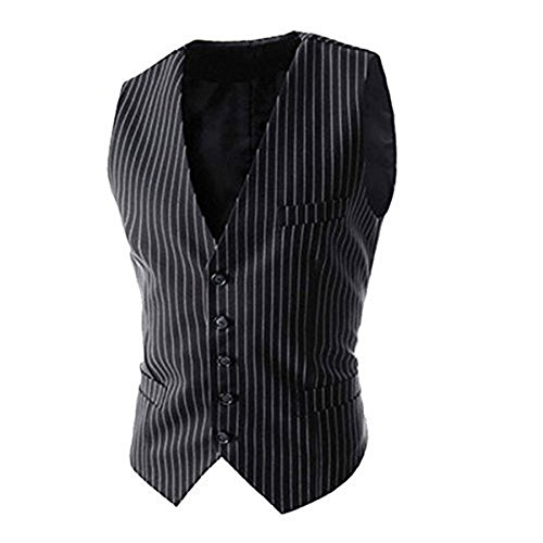 LIWEIKE Men's Pinstripe Formal Single Breasted Suit Vest Waistcoat (Black, US S=Tag L)