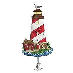 Nautical Red and White Lighthouse Wall Pendulum Clock