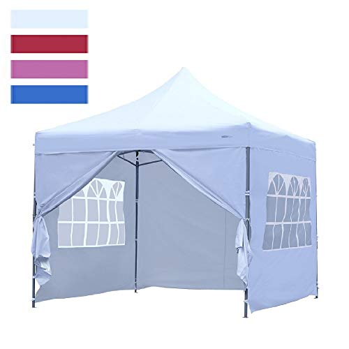 Leisurelife Heavy Duty 10'x10' Pop-up Wedding Tent with Sidewalls - Outdoor Folding Commercial Gazebo Party Tent White