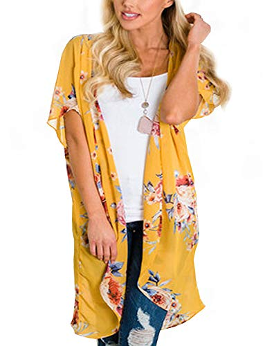 Cover Style Swimwear - BB&KK Floral Chiffon Kimono Open Cover Ups for Swimwear Women Boho Style Sheer Jackets for Women Shawls Street Wear Resort Wear (Yellow Large)