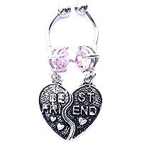 Dedegui 14g Heart best friends Gems Belly Button Navel Ring Body Piercing Jewelry