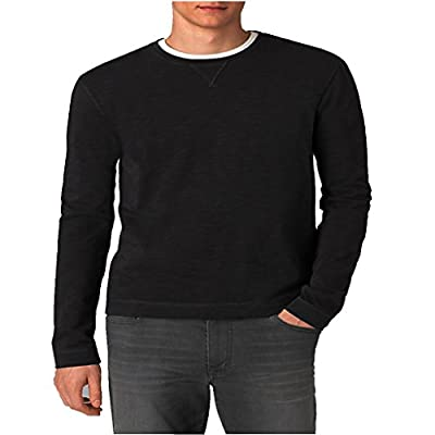 Mens Pullover Shirt By Calvin Klein Crew Neck Cotton Slub Sweatshirt Black X-large