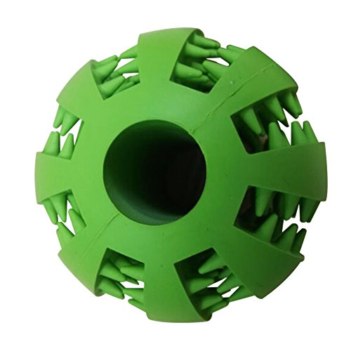 Chew Toy Ball for Dogs,Giveme5 Soft RubberTooth Cleaning Dog Toy Balls for Pet Training Playing Chewing Resistant to bite (Green)