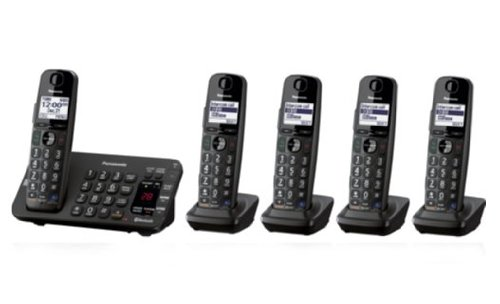 Panasonic KX-TG465 Link-to-Cell Bluetooth Convergence DECT 6.0+ Phone with Answering Machine, 5 Cordless Handsets