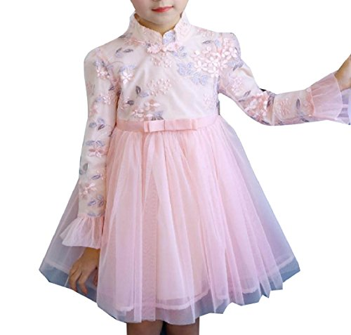 Highisa Kids Fashion Mesh Photography Embroidery Party Wedding Dresses Pink 150