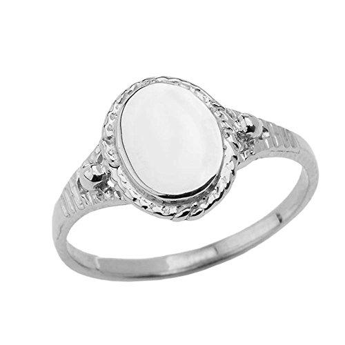 Enchanting Sterling Silver Milgrain Engravable Oval Signet Ring (Size 2.75)