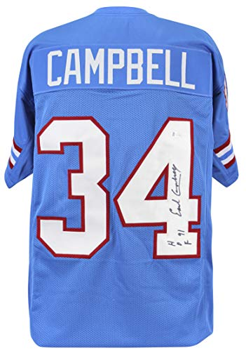 "Used, Oilers Earl Campbell""HOF 91"" Authentic Signed Blue for sale  Delivered anywhere in USA"
