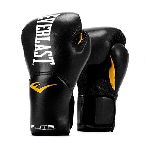 Elite Leather Boxing Gloves - Everlast Elite Pro Style Training Gloves, Black, 12 oz