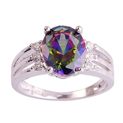 Topaz Crown Ring (Psiroy 925 Sterling Silver Oval Shaped Created Rainbow Topaz Filled Anniversary Ring)