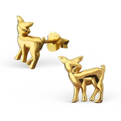 Laimons - Boucles d'oreille pour enfant - argent sterling 925 doré - faon