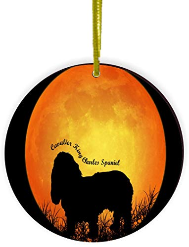Rikki Knight Cavalier King Charles Spaniel Dog Silhouette by Moon Design Round Ornament/Car Rear View Mirror Hanger (Round Mirror Charles)