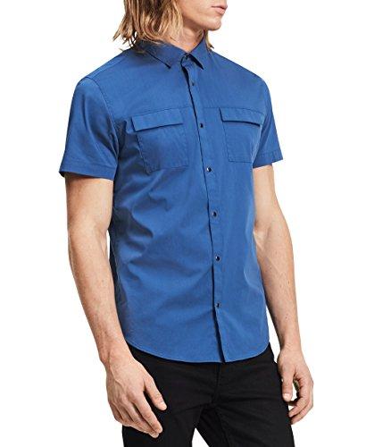 Calvin Klein Men's Short Sleeve Woven Button Down Shirt, Serene Blue, Large