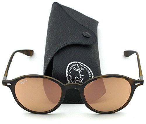Ray-Ban RB4237 ROUND LITEFORCE Unisex Mirrored Sunglasses (Matte Havana Frame, Pink Brown Mirror Lens - Wayfarer Ban Ray Liteforce