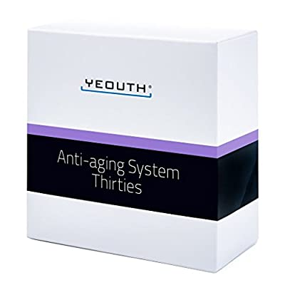 YEOUTH Anti-aging Kit Thirties - 6 pack Anti-aging skincare set - Vitamin C Facial Cleanser - Balancing Toner for Face - Vit C & E Serum - Hyaluronic Acid Serum - Eye Gel - Day Night Snail Cream