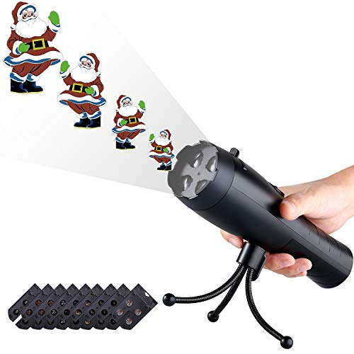 LED Christmas Lights Projector & Flashlight 2-in-1, Proodi Handheld Portable Continuous Animation Projection Light with 9 Replaceable Slides for Halloween Decorations, Thanksgiving, Birthday Party]()