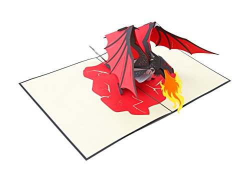 PopLife Fire Breathing Dragon Pop Up Card, 3D Cards for All Occasions - Birthday Cards
