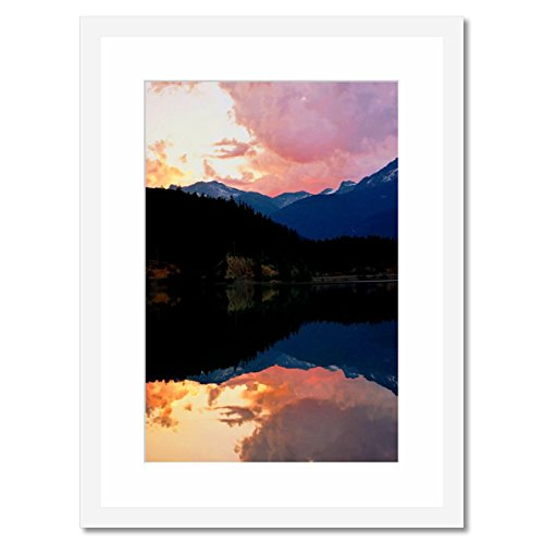 eFrame Fine Art | The Morning Mirror Whistler British Columbia by Howard Paley 16'' x 24'' Framed Wall Art for Wall or Home Decor (Black, Brown, White Frame or No Frame) by eFrame
