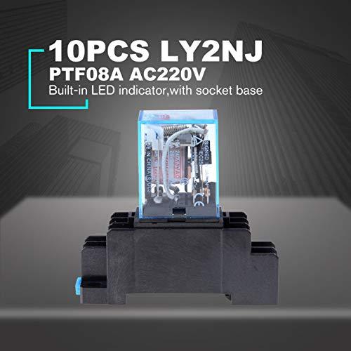 Relais de puissance de bobine AC 220V 10PCS LY2NJ DPDT 8 broches PTF08A JQX-13F Commutateur de base /électronique Micro Mini commutateur de module /électromagn/étique Noir