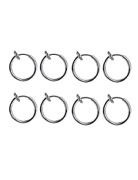BODYA 4 Pair! 8 of Surgical Steel Clip on Non-pierced Hoops circle Fake Nose Lip Ear Rings (13mm (1/2 Inch)) Piercing jewelry kit