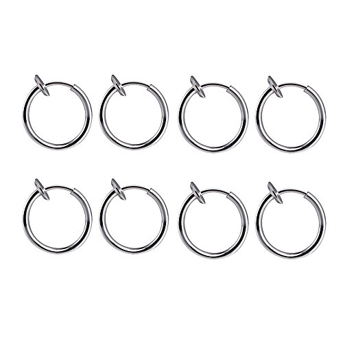 BODYA 4 Pair!8 of Surgical Steel Clip on Non-pierced Hoops Fake Nose Lip Ear Rings (13mm (1/2 Inch)) Piercing (Silver-8pcs) ()