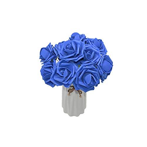 10Heads 8CM Home Decorative Artificial Rose Flowers Wedding Bride Bouquet DIY PE Foam Flower for Home Valentine's Day Decoration,Royal Blue