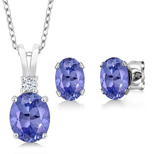 Gem Stone King 2.71 Ct Oval Blue Tanzanite 925 Sterling Silver Pendant Earrings Set