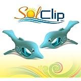Beach Towel Clips, pegs, clothespins, épingles, pinces à serviette de plage, SolClip Canada, Dolphin Splash