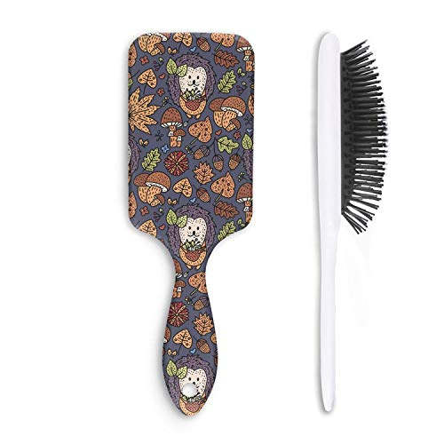 Cozy Fall Autumn Doodle Mini Hedgehog Hair Brushes Combs with Air Cushion Massage Scalp for Wet/Dry/Curly/Straight Hair Anti-static Hair Styling ()