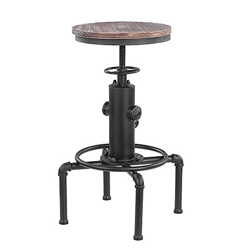 IKAYAA Swivel Industrial Bar Stool Adjustable Height Pinewood Top Kitchen Dining Chair with Footrest (Adjustable Bar Style Stool)