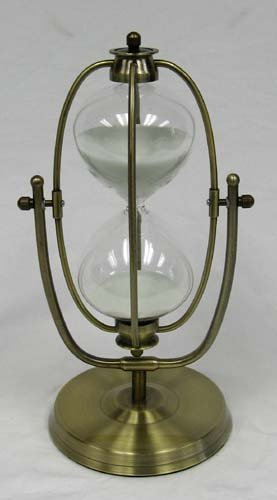 30 Minute Hourglass - Glass Timer with White Sand and Metal Stand ()