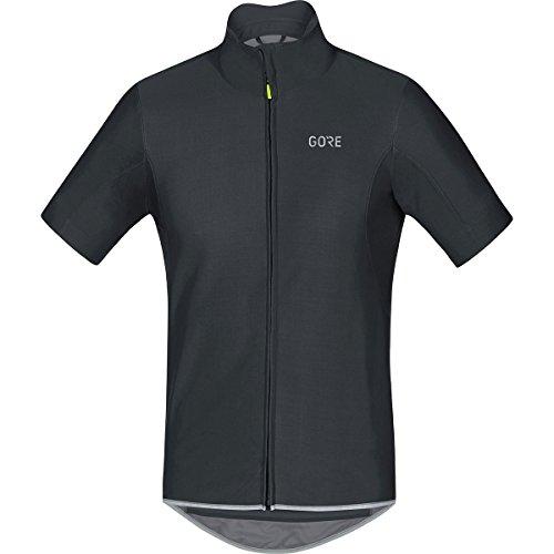 GORE Wear Men's Windproof Short Sleeve Road Cycling Jersey, GORE Wear C5 GORE Wear WINDSTOPPER Jersey, Size: L, Color: Black, 100221