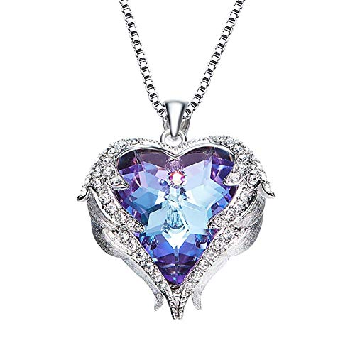 Ibeauti Crystal Heart of Ocean Series Deep Ocean Love Pendant Necklace Jewelry Gift (Purple & Blue)