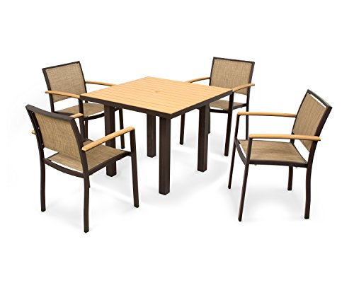 Polywood 5-pc. Bayline Dining Table & Chair Set - Outdoor - 20-year limited residential warranty; 1-year limited commercial warranty Aluminum Frame with PVC Coated Polyester Fabric and PlastiqueTM Arm Detail Commercial grade stainless steel hardware - patio-furniture, dining-sets-patio-funiture, patio - 41SxIxlxU%2BL -