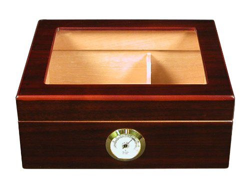 Desktop Humidor, Capri, with Tempered Glasstop, Cedar Divider, and Brass Ring Glass Hygrometer, Holds 25 to 50 Cigars, by Quality Importers