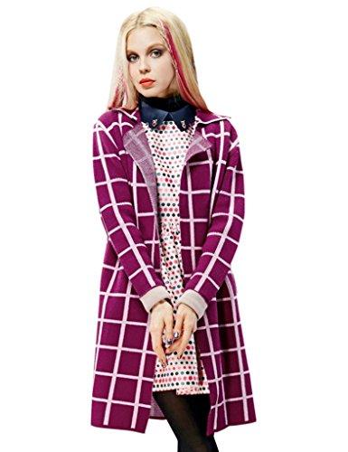 Elf Sack Womens' Spring Cardigan Sweater Plaid Jacquard Long Medium Size Red