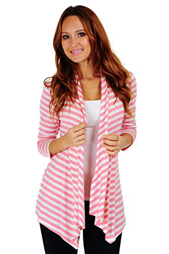 Simply Ravishing SR Women's Basic 3/4 Sleeve Stripe Open Cardigan (Size: Small-5X), 2X, Ivory/Strawberry