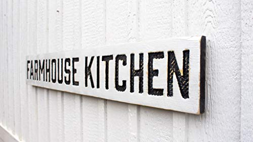 """Farmhouse Kitchen Sign - Carved in a 55""""x8"""" Solid Wood Board Rustic Distressed Shop Farmhouse Style Wooden Gift"""