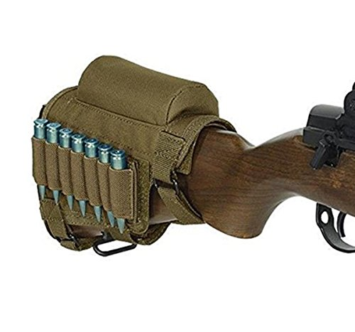 Rifle Buttstock Portable Adjustable Tactical Shell Holder Cheek Rest Pouch Holder Pack With Ammo Carrier Case Khaki Buttstock Cover