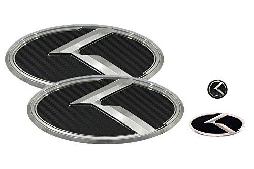 3D K Logo Emblem Carbon Fiber & Chrome Edition Set 4pc Front + Rear + Steering Wheel + Mini Sticker (Fits: KIA 2018+ ()