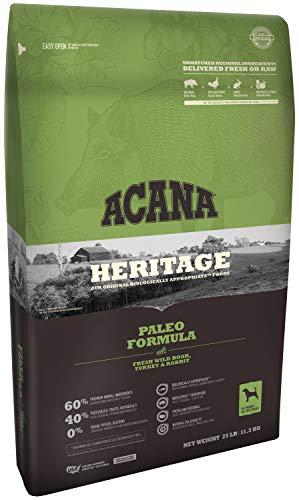 Acana Heritage Grain-Free Dog Food, 25 Pounds, Paleo Formula with Wild Boar Turkey and Rabbit