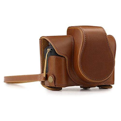 MegaGear Canon PowerShot G1X Mark III Ever Ready Leather Camera Case and Strap, with Battery Access - Light Brown - MG1384